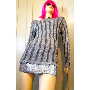 VTG 80s Beaded Metallic Silver Shimmer Sweater